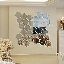 Cegar Acrylic Mirror Wall Stickers,12 PCS Geometric Hexagon Silvel Acrylic Mirror Removable 3D Mirror Decal Mural DIY Home Decor
