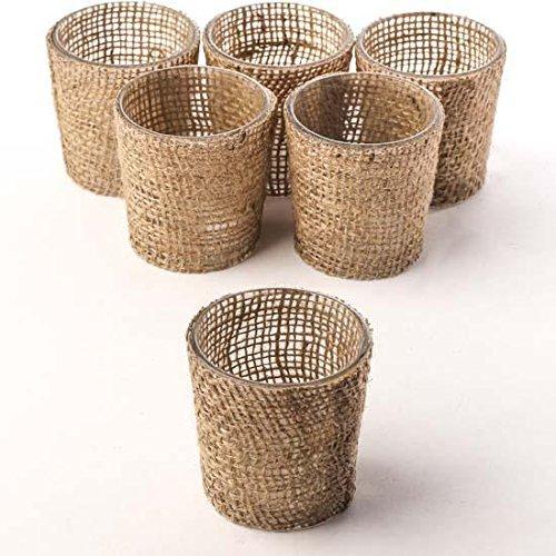 Factory Direct Craft pacchetto di 6 trendy Burlap di vetro portacandele per casa e party Decor