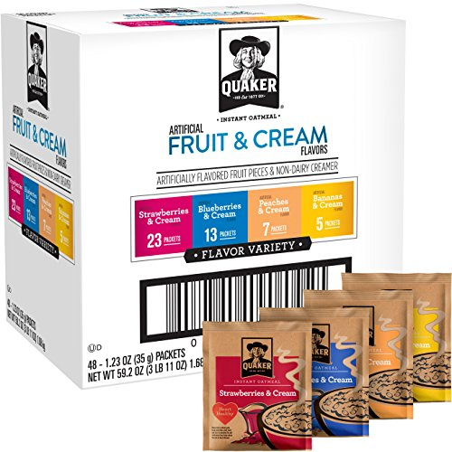 - Quaker Instant Oatmeal Fruit and Cream Variety Pack, Breakfast Cereal, 48 Count,Pack of 1