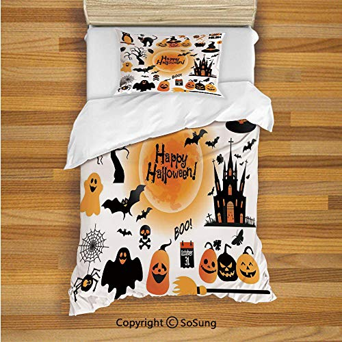 SoSung Halloween Decorations Kids Duvet Cover Set Twin Size, All Hallows Day Objects Haunted House Owl and Trick or Treat Candy 2 Piece Bedding Set with 1 Pillow Sham,Orange Black -