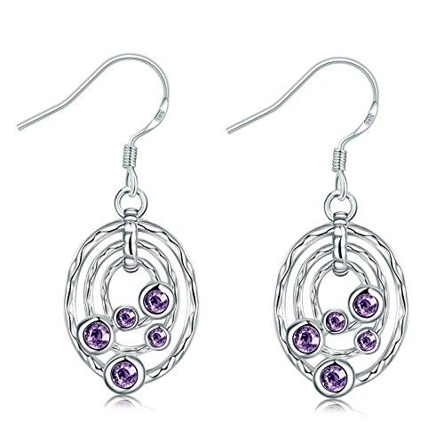 Gnzoe Fashion Jewelry 18K Silver Plated Drop Earrings Fishhook Hollow Oval Purple Crystal Eco ()
