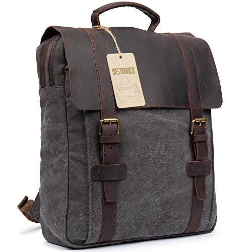 Canvas Real Leather Backpack Vintage Casual School Bag Retro Unisex Travel Bag Fashionable Rucksack Dark Grey – WESTBRONCO