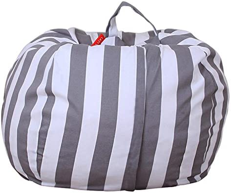 Kids Toy Storage Bean Bag Stuffed Animal Storage Bean Bag Chair Perfect Storage Solution For Blankets Pillows Towels Clothes (Grey/ White Stripe, Round 38')