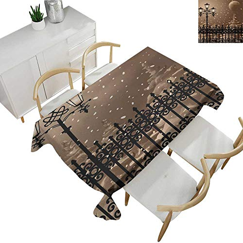 - Lantern,Decor Collection Table Cloths Frozen Scenery Iron Fences City Evening Snow and Lanterns Full Moon Graphic Table Cloth Cover Wedding Event Party Light Brown Black 50