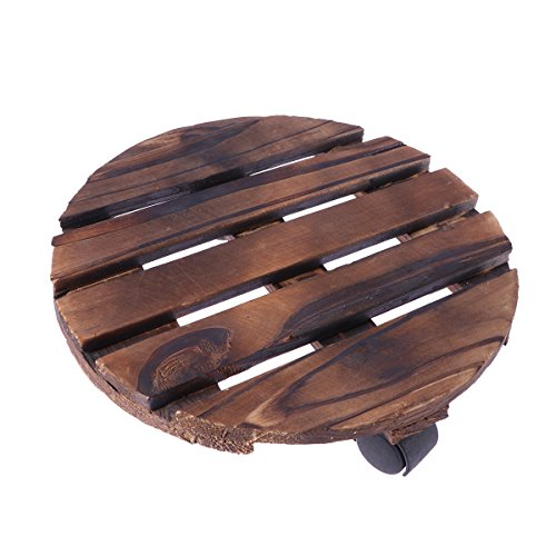 Vosarea Wooden Movable Potted Plant Round Flower Pot Stand with Wheels Rack on Rollers Dolly Holder for Indoor Outdoor Home Garden Planter Trolley Casters Rolling Tray Coaster (Movable Planters Wheels On)