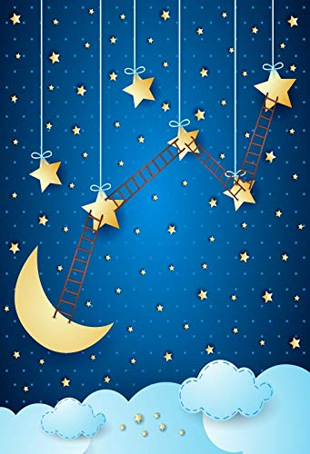 Leyiyi 4×6フィート 写真撮影用背景幕 子供の誕生日 1歳のB日 星空の抽象 銀河 星 三日月 三日月 はしご 雲 洗礼 ベビーシャワー ケーキ テーブル 写真 縦向き ビニールスタジオ小道具   B07GFKY4TB