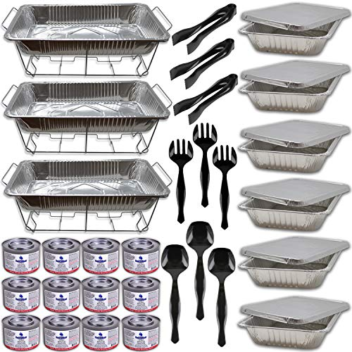 Buffet Serving Kit, 3 Sets W/Fuel- Wire Racks, Water Pans, Half Size Food Pans w/covers, Serving Spoons, Forks, Tongs, 12 Fuel Cans (2.5 hrs each)- Chafing Dish Food Warmers for Parties and Catering