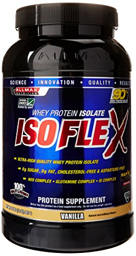 ALLMAX Nutrition Isoflex 100 Ultra-Pure Whey Protein Isolate WPI Ion-Charged Particle Filtration Vanilla 2 lbs 907 g (Nutrition Protein Whey Pure)