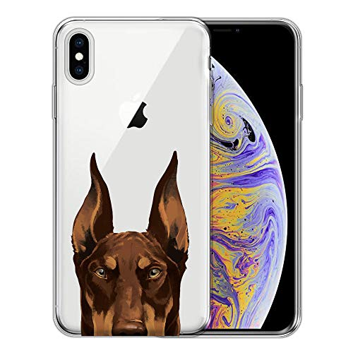 (FINCIBO Case Compatible with Apple iPhone XS Max 6.5 inch, Clear Transparent TPU Silicone Protector Case Cover Soft Gel Skin For iPhone XS MAX (NOT FIT iPhone XS) - Red Chocolate Doberman Pinscher Dog)
