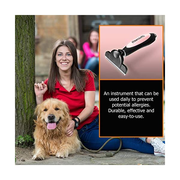 MarcosM Dog Brushes Shedding – Professional Deshedding Tool Dogs Cats Blade Fur Ejector Button Drawstring Storage Pouch… Click on image for further info. 4