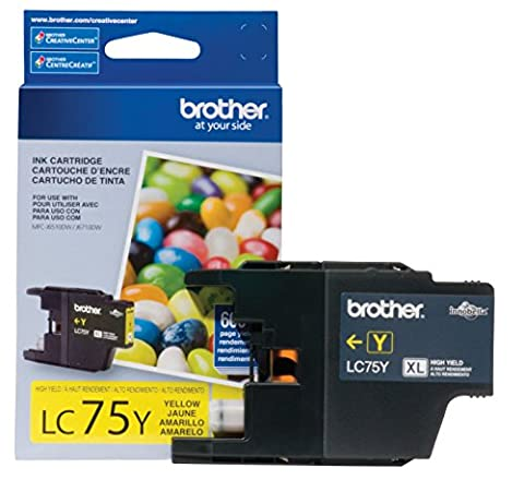 Brother Printer LC75Y High Yield (XL Series) Yellow Cartridge Ink - Retail Packaging (Brother Printer Ink Lc 75)