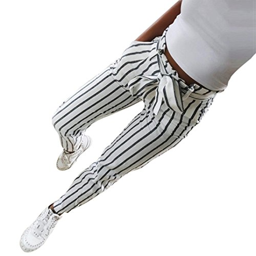 GoodLock Women High Waisted Pants Skinny Striped Long Jeans Tie High Waist Ladies Pants Trouser (White, (Cheap Colored Contacts For Costumes)