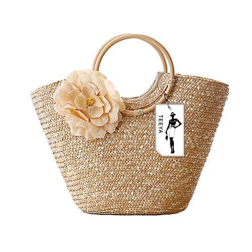 Mujeres Paja Bolso de mano Flor Woven Verano Playa Messenger Tote Bolsa Cesta Shopper Bolso Beige