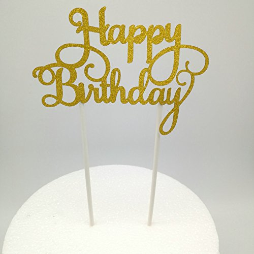 Birthday Decoration Items (Hemarty 2pc Happy Birthday Gold Cake Topper Party Decoration Paper Glitter Cake Topper Baby Shower Party Favor/Supplies)