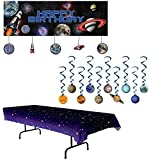 Space Blast Giant Party Banner bundle with Hanging Cutouts, Solar System Whirls and Starry Night Table Cover (3 items)