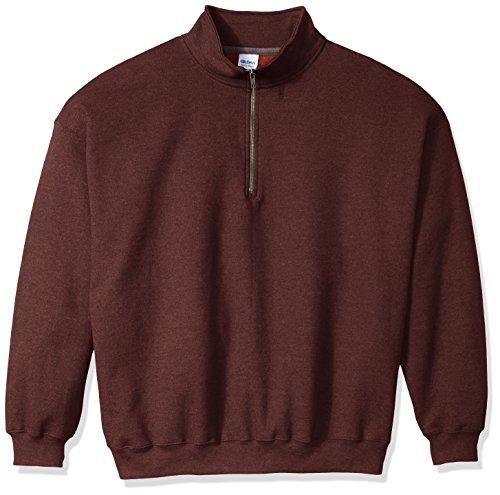 Gildan Men's Fleece Quarter-Zip Cadet Collar Sweatshirt, Russet, ()