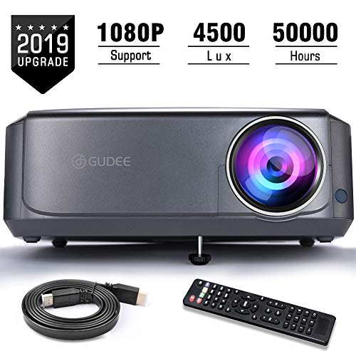 Video Projectors, GuDee Full HD Movie Projector for Home Theater, 4500L Overhead Projector for Business PowerPoint Presentations, Compatible with Laptop, Smartphone, HDMI, - Security Mobile Computer Center