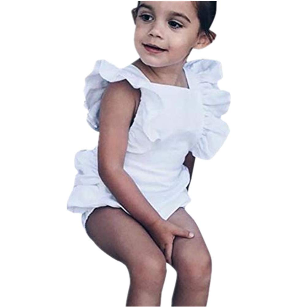 NUWFOR Summer Newborn Baby Boys Girls Ruffle Solid Romper Bodysuit Jumpsuit Clothes(White,12-18Months)