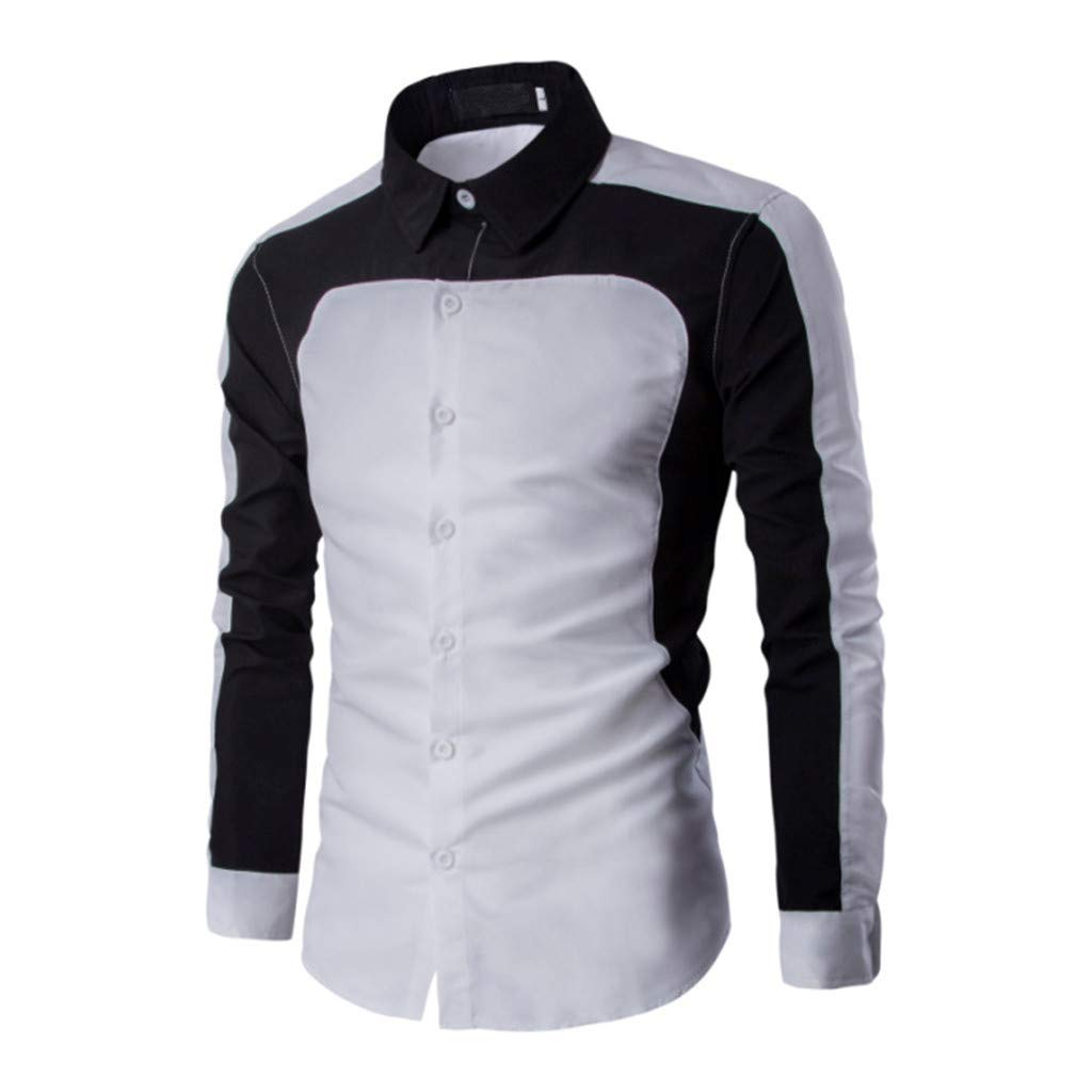 NUWFOR Men's Long Sleeve Splicing Painting Large Size Casual Top Blouse Shirts(White,L US Chest:44.1'' by NUWFOR (Image #2)
