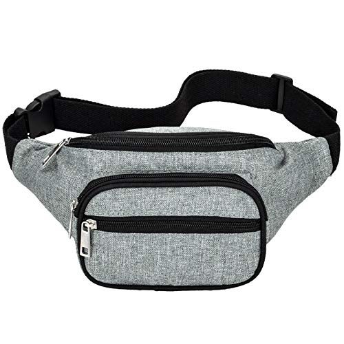 (Kayhoma Fanny Pack 50in Bum Bags Water Resistant Waist Belt Purse Gray)