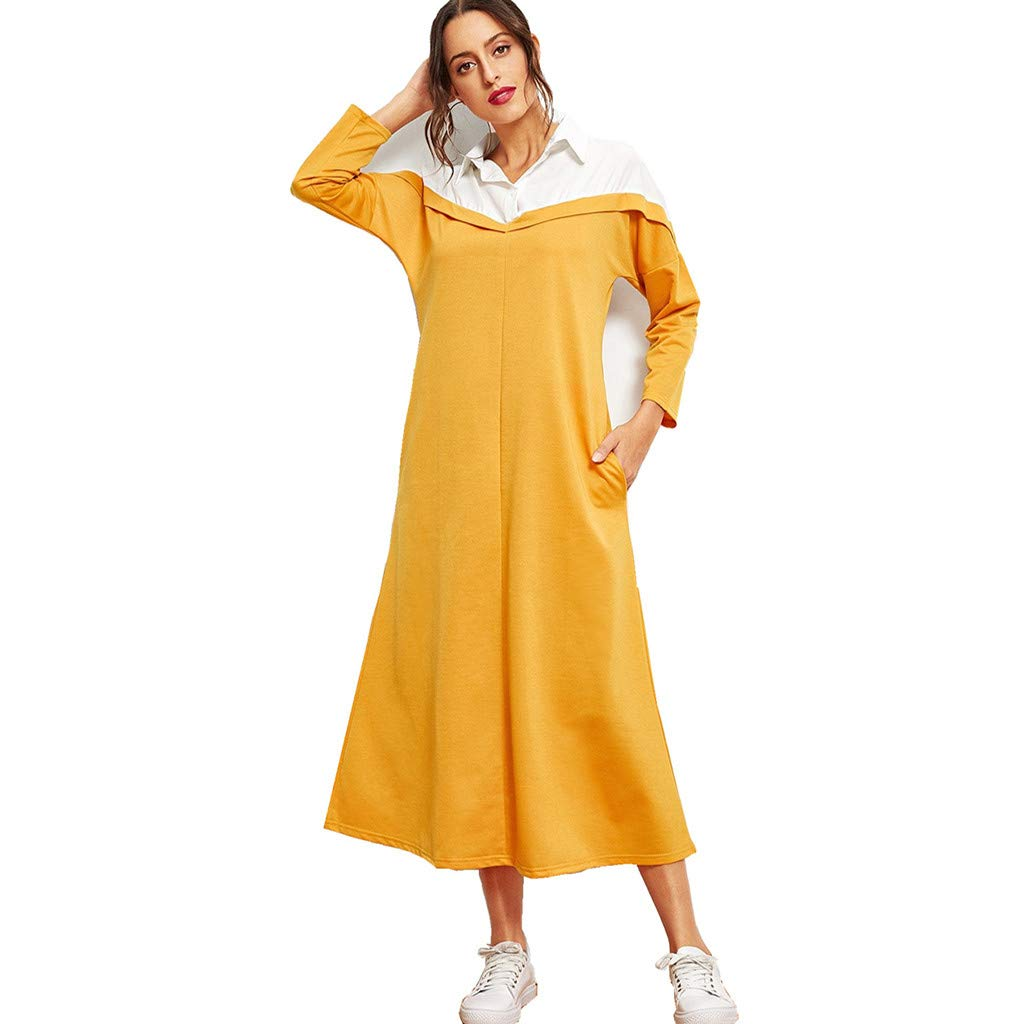 ZOMUSAR 2019 Muslim Clothing Women's Lapel Long Sleeve Dress Middle Eastern Muslim Colorblock Maxi Dress Yellow