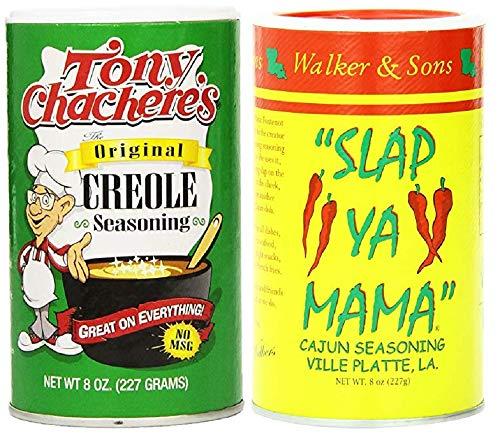 - Louisiana Favorites No MSG Cajun Creole Seasoning Bundle - 1 each of Tony Chachere's Original Creole and Slap Ya Mama Cajun Seasonings (8 Ounces each)