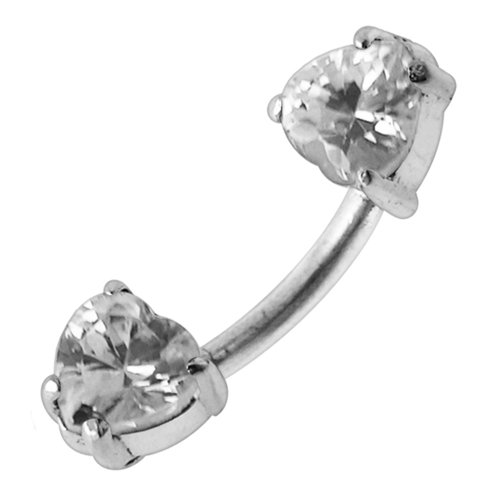 Clear Heart CZ Stone 925 Sterling Silver Double Side Belly Button Ring Jewelry