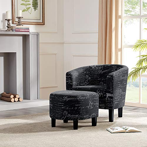 Belleze Accent Club Chair with Ottoman Modern Stylish Round Arms Curved Back French Print Script Linen Fabric, Black (Reading Chair Ottoman)