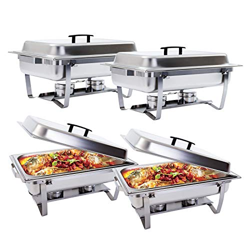 (Chafing Dish -SUNCOO 8 Quart Buffer Chafer Stainless Steel Full Size Chafer Dish Rectangular Chafer W/Water Pan, Food Pan, Fuel Holder and Lid For Catering Buffet Warmer Set with Folding Frame 4 Packs)