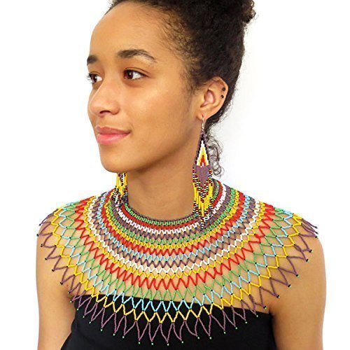 - Traditional African Zulu wedding necklace beaded, oversized necklace, statement piece, gift for her - Multicolour with purple