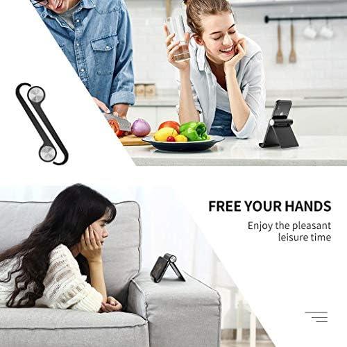 KHFFH 携帯電話ホルダー- 携帯電話スタンド、折り畳み式の角度設計モバイル携帯電話スタンドホルダー、ベッドルーム、オフィス、バスルーム用すべての携帯電話とタブレットレイジーブラケット (Color : Black, Size : 9.5x8.5cm)