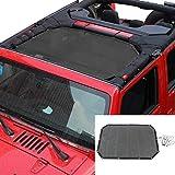 RT-TCZ Sunshade Mesh Top Cover Provides UV Sun Protection for Jeep Wrangler JK JKU 2007-2018 (Black 2&4 Doors)