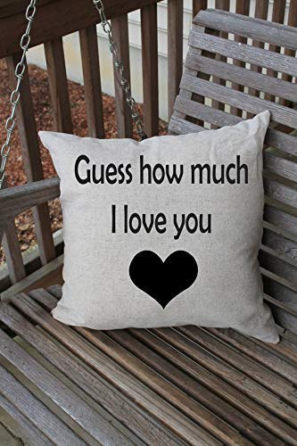 Pattebom Pillow Cushion Cover, Guess How Much I Love You, Nursery Decor Cushion Cover, Nursery Pillow, Baby Gift, Love Gift for Her, Him