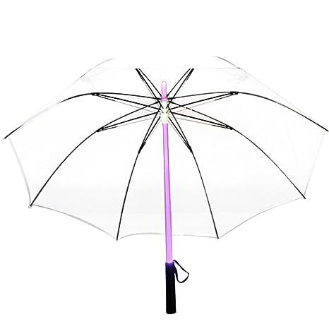 Vejaoo Paraguas Golf con Linterna y 7 Color LED Paraguas Sombrilla contra Ultravioletas y Viento (