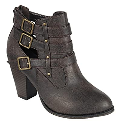 Forever Women's Buckle Strap Ankle Booties camila62,Brown,9