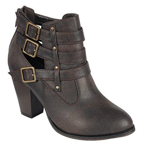 Block Women's Booties Brown Heel Ankle Buckle Strap Forever 62 gtSwqzz