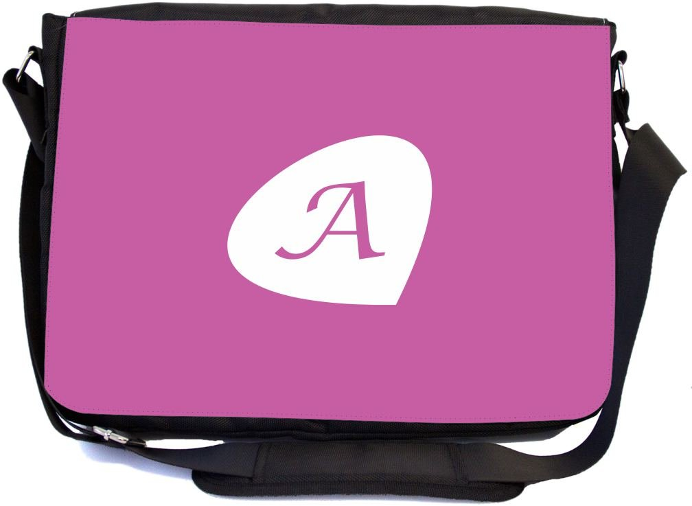 Rikki Knight Letter ''A'' Initials Radiant Orchid Color Petal Leaves Design Premium Messenger Bag - School Bag - Laptop Bag - with padded insert for School or Work - With Matching Pencil Case