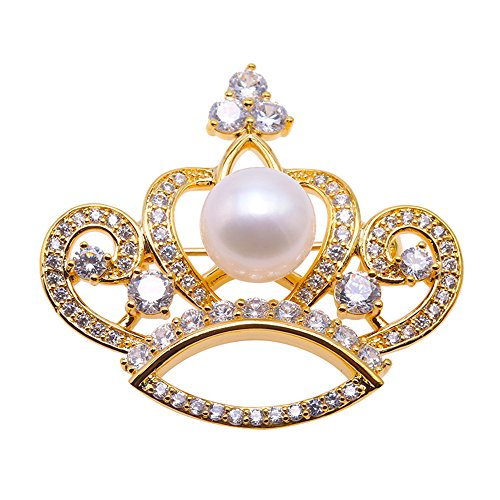 (JYX Pearl Brooch Crown-Style White 10mm Freshwater Cultured Pearl Brooch Pin Christmas Brooches)