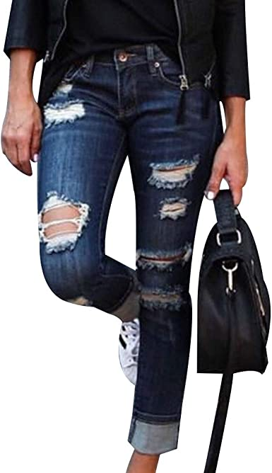 Ripped Holes Jeans,Womens Mid Waist Destroyed Ripped Hole Stretch Denim Skinny Jeans Distressed Trousers