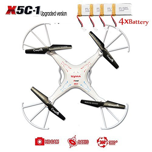CrazyFire Syma X5C-1 RC Quadcopter,4 Channels 2.4Ghz Hobby RC Helicopter RC Explorers Quad Copter With HD 2.0MP Camera And 6-axis Gyro Stablization System Include 4pcs Battery and 8pcs Rotating Blades (Black)