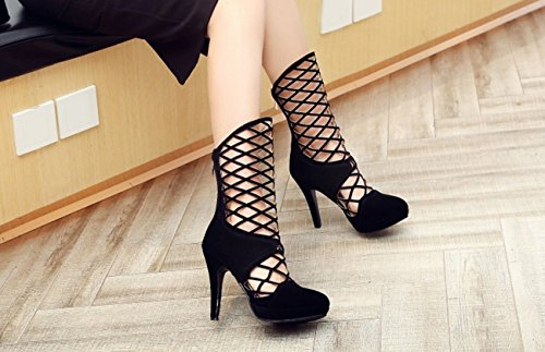 Red Hollow Mesh Black Heels Blue Heels Suede Women's SHINIK Boots Black High Shoes Sandals Waterproof qzvRWfpgw