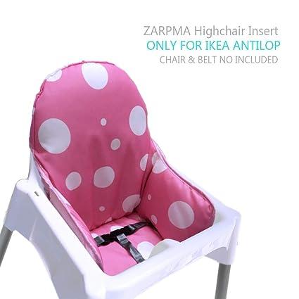 ZARPMA IKEA Antilop Cojín para trona de bebé, de nueva versión, más grueso, lavable y plegable, acolchado para silla infantil rosa rosa