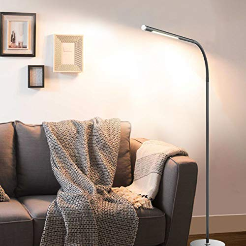 Joly Joy LED Modern Floor Lamps, Flexible Gooseneck Standing Reading Light W/Stable Base, 4 Color & 5 Brightness Dimmer, Touch & Remote Control, for Living Room, Chair, Couch, Office Task (Black) by Joly Joy (Image #7)