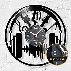 Music Clock - Music Vinyl Wall Clock - Music Singer Wall Clock Musical Instrument Music Theme Timelike Vinyl Record Violin Jazz Wall Art Home Room Decor Unique Clocks Music Musician Gift Vinyl Black