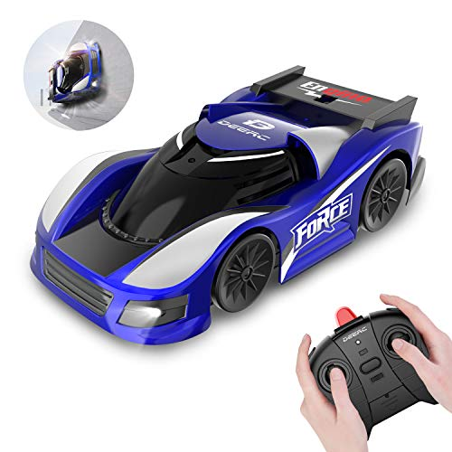 DEERC RC Cars for Kids Remote Control Car with Wall Climbing,Low Power Protection,Dual Mode,360°Rotating Stunt,Rechargeable High Speed Mini Toy Vehicles with LED Lights Gifts for Boys Girls,Color Blue (Zip Zaps Micro Rc)