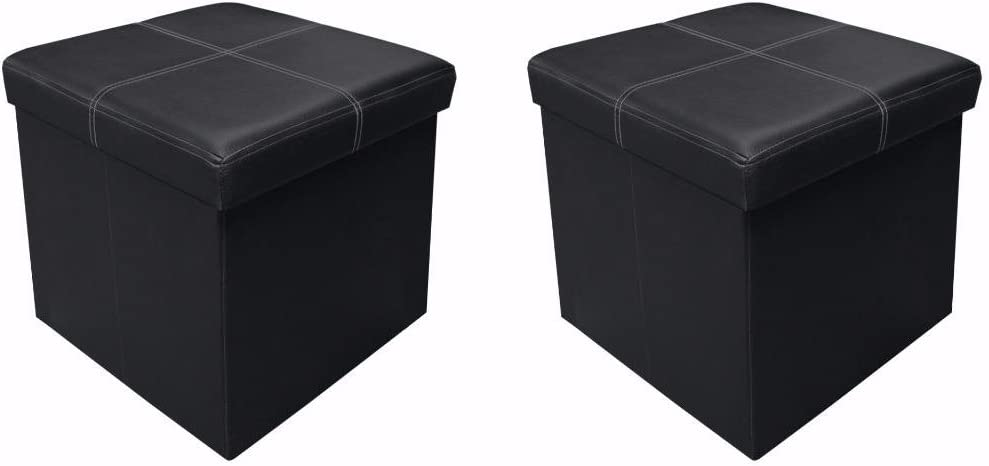 "Otto & Ben 15"" Storage Ottoman - [2pc Set] Folding Toy Box Chest with Memory Foam Seat, Faux Leather Ottomans Bench Foot Rest Stool, Line Black"