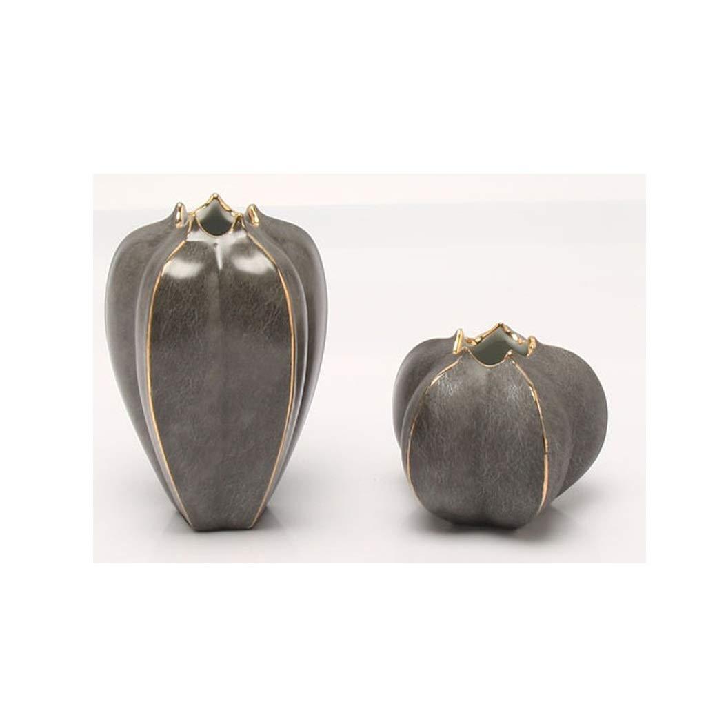 セラミックカウンター花瓶装飾リビングルーム工芸装飾花瓶ブラウン2ピース包装 QYSZYG B07R32BBVQ