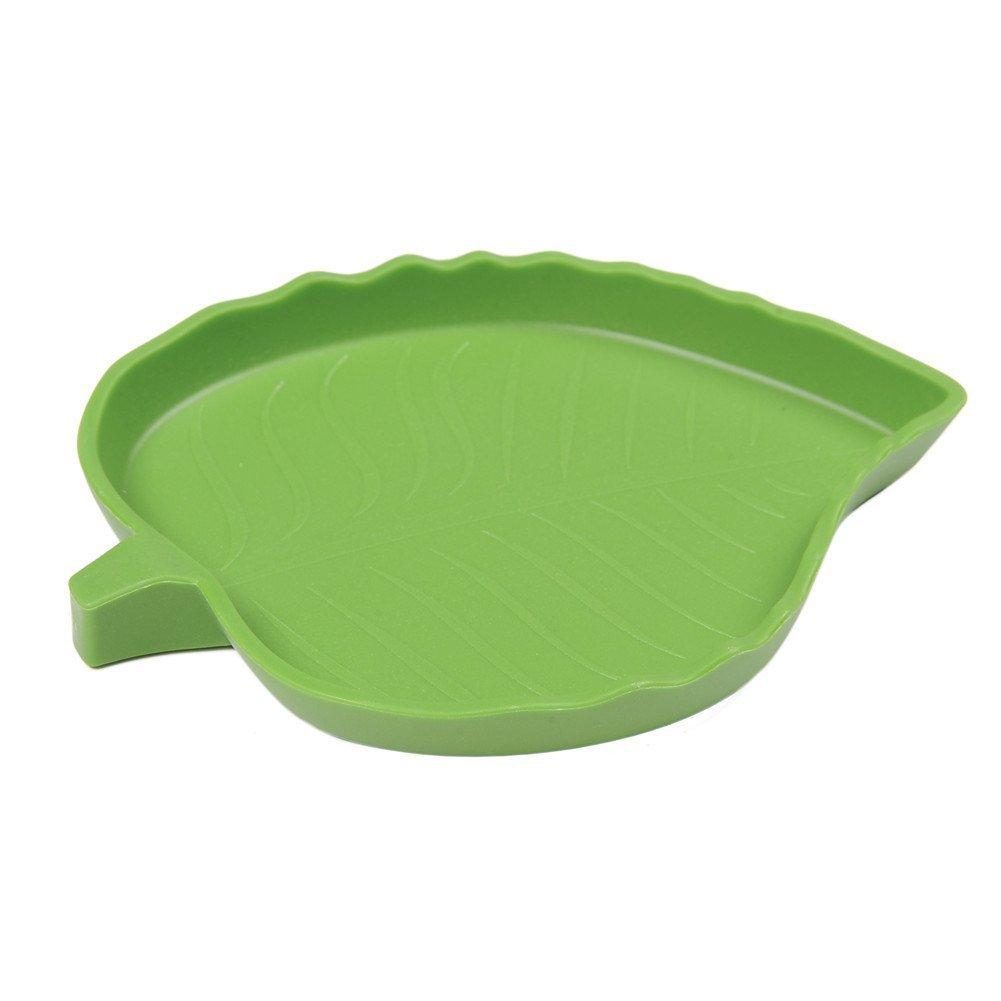 TAONMEISU Plastic Reptile Food and Water Bowl Terrarium Dish Aquarium Ornament Leaf (2 PCS M)