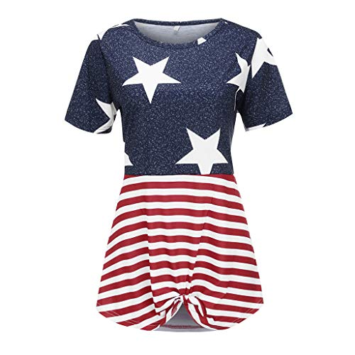 WILLBE Women's Independence Day Tops Casual Short Sleeve Shirt Print Knotted T-Shirt American Flag Short Sleeve Blouse Blue -