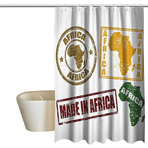 African Decorations Punch-Free Shower Curtain Set of Grunge Rubber Stamps Made in Africa Quote Inside Authentic Labels Theme No Chemical Odor, Rust Proof Grommets 96